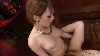 shemale girlfriend anal fucks partner in bar