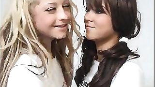 Blonde Teen Fucks A Brunette Schoolgirl With Strapon